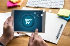 Business people use Technology Ecommerce Internet Global Marketi Royalty Free Stock Photos