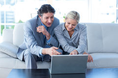 Business people using laptop Royalty Free Stock Photos