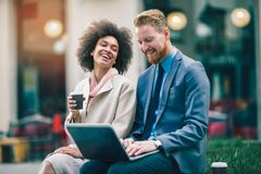 Business people using laptop at outdoor. Business and coworker concept Royalty Free Stock Photos