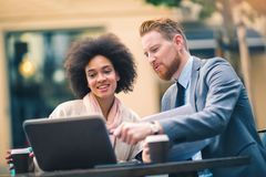 Business people using laptop at outdoor. Business and coworker concept Royalty Free Stock Images