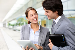 Business people using tablet royalty free stock photography