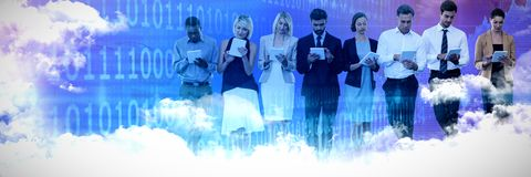 Composite image of business people using tablet computer against white background stock photos