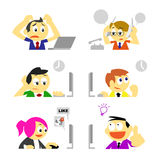 Business people and various behavior in office. Vector business people and various behavior in office emotion concepts stock illustration