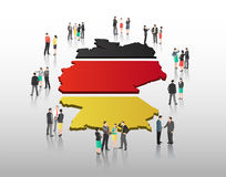 Business people vector with german flag and country outline Stock Photos