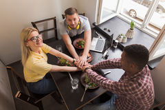 Business people in vegan restaurant Royalty Free Stock Images