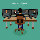 Business people video conferencing, vector illustration Stock Photos