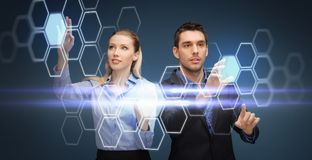 Business people with virtual projection of network Royalty Free Stock Image