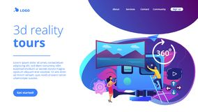 Virtual tour concept landing page. Business people on virtual reality tour 360 watching beautiful landscape and a camera. Virtual tour, 3d reality tours stock illustration