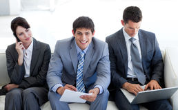 Business people waiting for a job interview. In an office Stock Photos