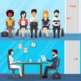 Business people waiting for job interview. Vector Stock Image