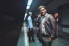 Business people waiting for subway transportation Stock Images