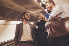 Business people waiting for subway transportation Royalty Free Stock Images