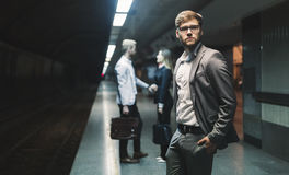 Business people waiting for subway transportation Royalty Free Stock Photo