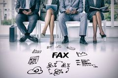 Composite image of business people waiting to be called into interview. Business people waiting to be called into interview against fax text surrounded by Stock Photos