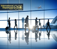 Business People Walking Airport Business Trip Travel Destination Royalty Free Stock Images