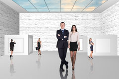 Business people walking on art gallery Stock Photo