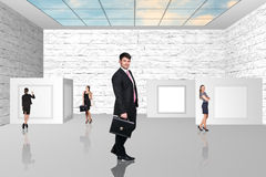 Business people walking on art gallery Royalty Free Stock Images