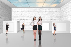 Business people walking on art gallery Royalty Free Stock Photography