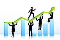 Business people walking on bar graph Stock Photography