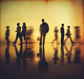 Business People Walking Commuter Rush Hour Concept Stock Photos