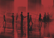 Business People Walking Commuter Rush Hour Handshake Concept royalty free stock images