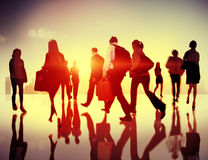 Business People Walking Commuter Travel Motion City Concept Stock Image