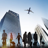 Business People Walking Corporate Travel Airplane Concept Stock Photography