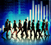 Business People Walking Financial Figures Concept Stock Images