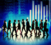 Business People Walking Financial Figures Concepts Stock Photos