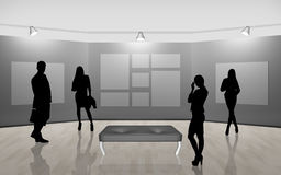 Business people walking on gallery art Royalty Free Stock Photo