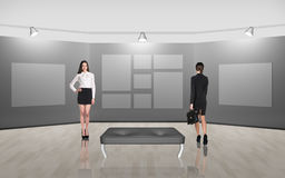 Business people walking on gallery art Stock Photos