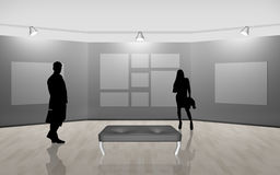 Business people walking on gallery art Royalty Free Stock Photography