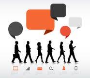 Business People Walking Speech Bubble Communication Digital Concept Stock Photo