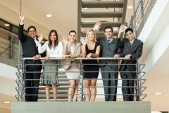 Business people waving Stock Photo