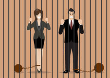 Business people with weights in prison Stock Image