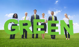 Business People white Green Business Concepts Stock Image