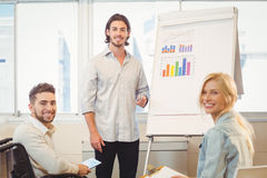 Business people with whiteboard during meeting Stock Images