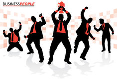 Business People in Winning Poses Royalty Free Stock Photos