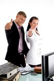 Business people wishing goodluck. Business people wishing good luck in an office Stock Image