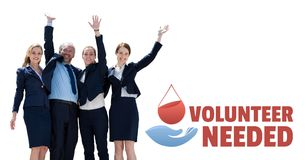 Free Business People With Volunteer Needed Text And A Blood Donation Graphic Royalty Free Stock Photos - 100269248