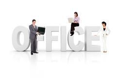 Business people with word office Stock Photography
