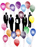 Business people and words. Vector illustration of business people and words with balloons Royalty Free Stock Images