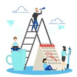 Business people work with calendar as a metaphor of planning. And strategy. Week schedule concept. Vector flat illustration royalty free illustration