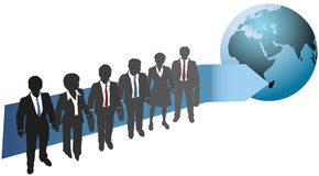 Business people work for global future. Business people stand with arrow pointing direction to global future Stock Image