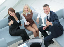 Business people at work. Happy business people in formalwear sho Royalty Free Stock Image