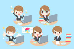 Business people work hard. Cute cartoon business people work hard with blue background Stock Photography