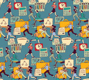 Business people work office run seamless pattern. Royalty Free Stock Images