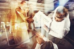 Business people work in the office with statistic worksheets. concept of teamwork and business. double exposure stock images