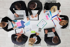 Business people work with statistics Royalty Free Stock Images