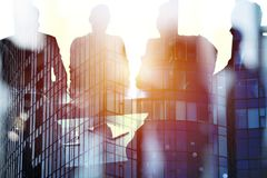 Businessmen that work together in office. Concept of teamwork and partnership Royalty Free Stock Photos